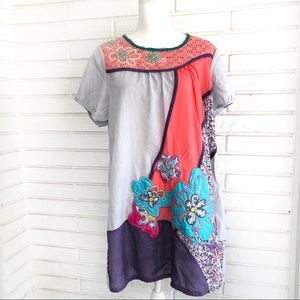 Sacred Threads embroidered floral flowy dress OS